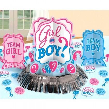 Girl or Boy Table Decorating Kit - Paper and Foil Fringe