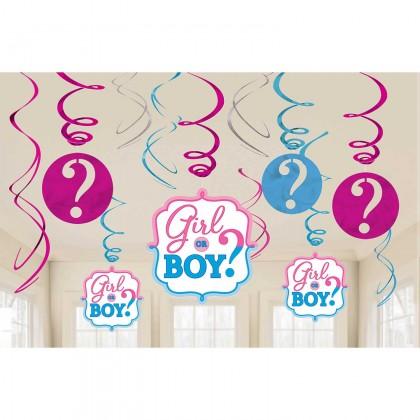 Girl or Boy Value Pack Spiral Decorations - Paper