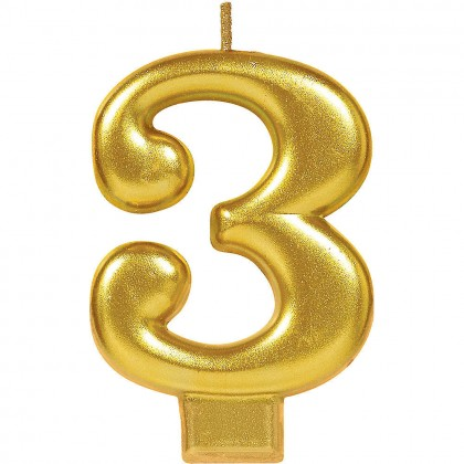 Numeral Candles Gold Metallic #3