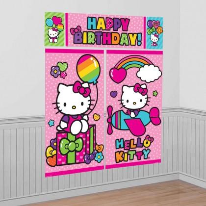 Hello Kitty Rainbow Scene Setters Wall Decorating KIt Plastic