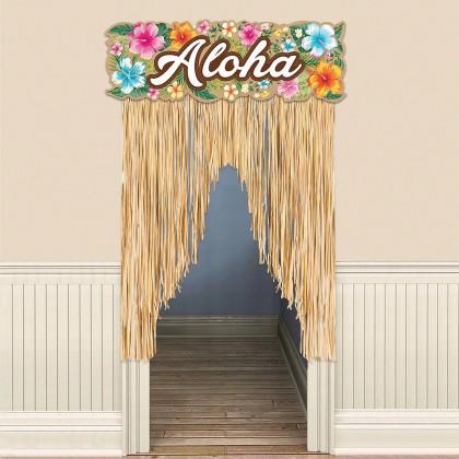 Beachy Blooms Door Curtain Paper Header with Plastic Fringe