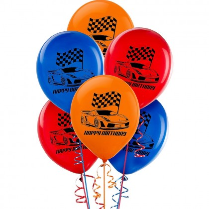Race Car Printed Latex Balloons Assorted Colors