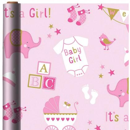 Baby Girl Elephant Printed Jumbo Gift Wrap