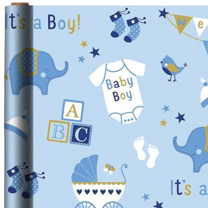 Baby Boy Elephant Printed Jumbo Gift Wrap