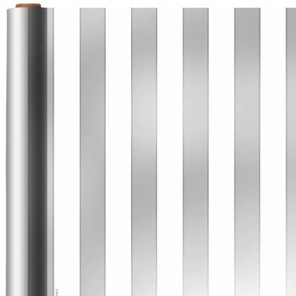 Stripe  Silver Printed Jumbo Foil Gift Wrap
