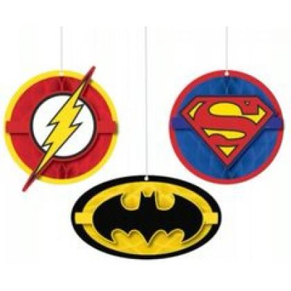 Justice League Heroes Unite Honeycomb Decs. - Tissue w/Paper Cutouts