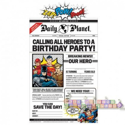 Justice League Heroes Unite Deluxe Invitations
