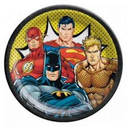 Justice League Heroes Unite Round Plates, 9 in