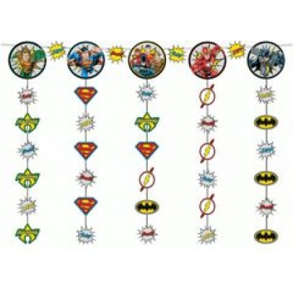 Justice League Heroes Unite Hanging String Decorations - Paper & Ribbon