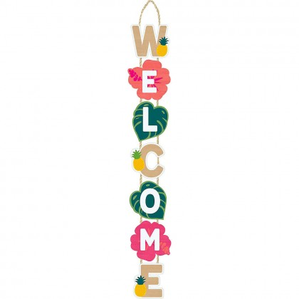 Aloha Long Welcome Sign  Wood with Rope Hanger