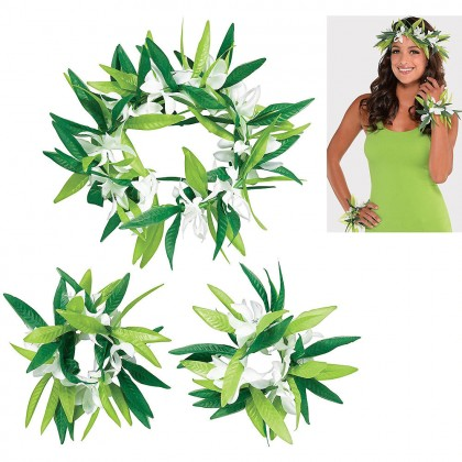 Green Leaf with Flowers Acessory 3 pack