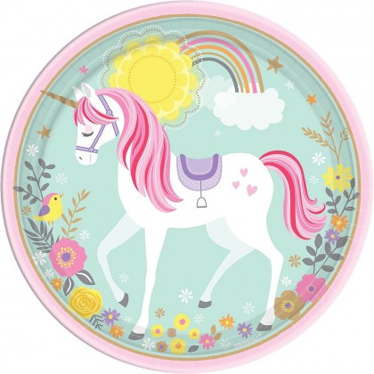 Magical Unicorn Round Plates 9 in