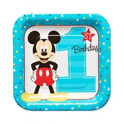 Disney Mickeys Fun To Be One Square Plates 7in