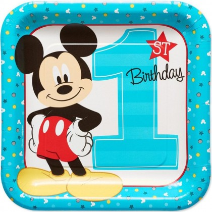 Disney Mickeys Fun To Be One Square Plates 9in