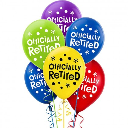 Officially Retired Ptd. Latex Balloons - Asst. Colors