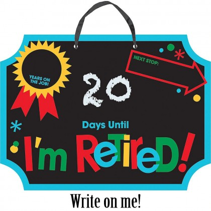 Officially Retired Countdown Sign - Cardboard w/Ribbon Hanger