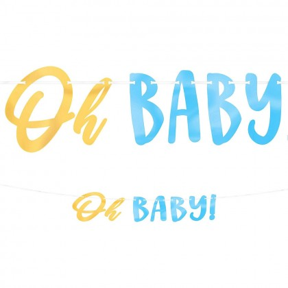 Oh Baby Boy Ribbon Banner w Foil Letters