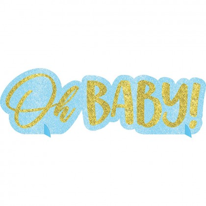 Oh Baby Boy Centerpiece Glitter Paper Board