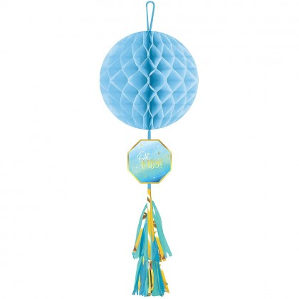 Oh Baby Boy Honeycomb Decoration w Tassel Tail