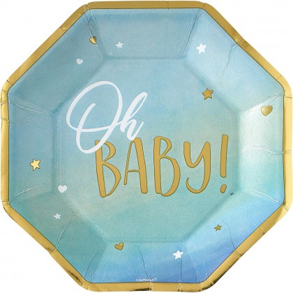 Oh Baby Boy Octagonal Plates Metallic 10 in