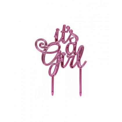 Baby Shower Cake Topper Girl - Electroplated Plastic