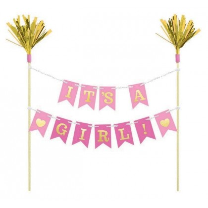 Its a Girl Cake Pick H-S Paper and Wood Picks with Foil