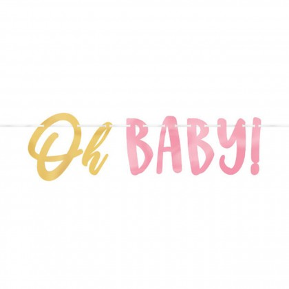 Oh Baby Girl Ribbon Banner with Foil Letters