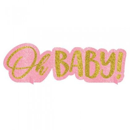 Oh Baby Girl Centerpiece - Glitter Paper Board
