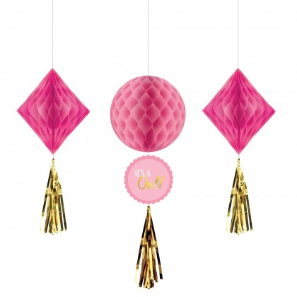 Oh Baby Girl Honeycomb Decoration - Tissue, Paper & Foil