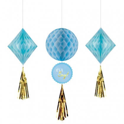 Oh Baby Boy Honeycomb Decoration - Tissue, Paper & Foil