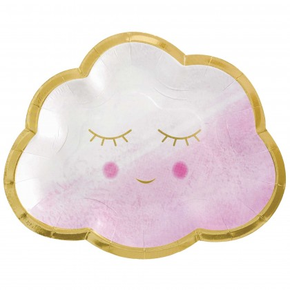 Oh Baby Girl Shaped Plates - Metallic, 6.5 in