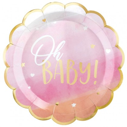 Oh Baby Girl Shaped Plates - Metallic, 10.5 in