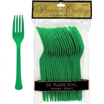 Plastic Fork Festive Green