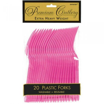 Plastic Fork Bright Pink