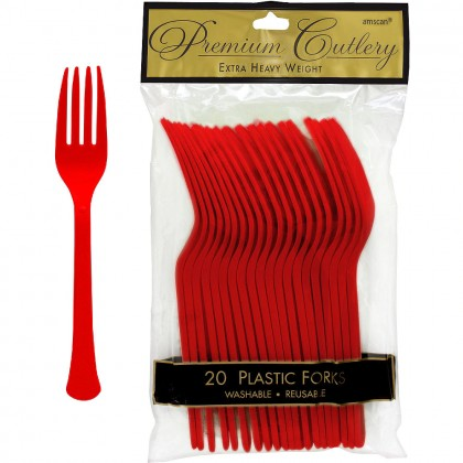 Plastic Fork Apple Red