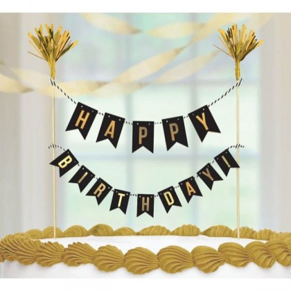 Gold Birthday Cake Pick - Hot-Stamped Paper