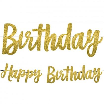 Ribbon & Glitter Paper Gold Birthday Letter Banner