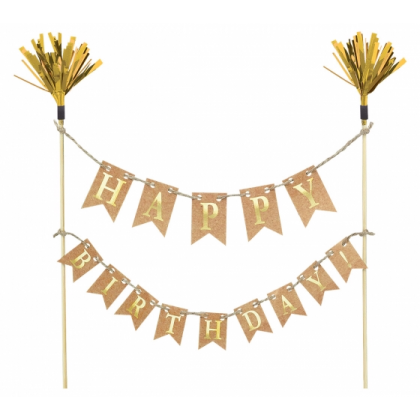 Cake Picks Gold Wood w Paper & Foil