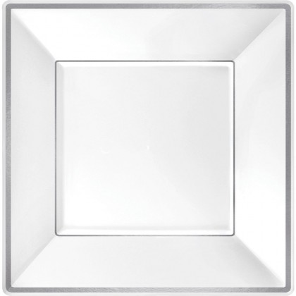 10 in Square Plates Plastic White w Silver Trim