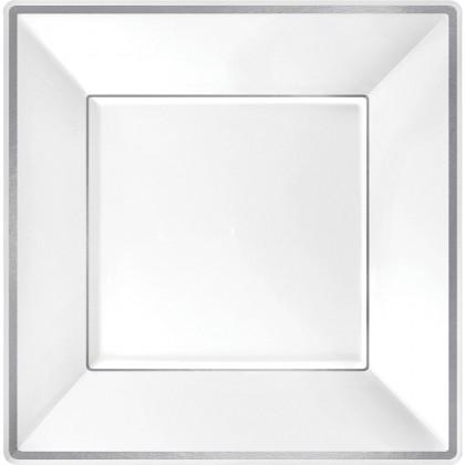 10 in Square Plates Plastic White w Silver Trim