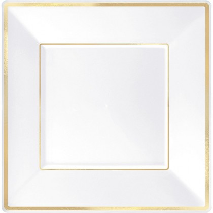 10 in Square Plates White w Gold Trim
