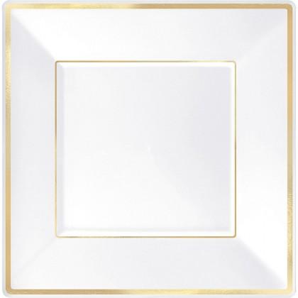 10 in Square Plates White w Gold Trim