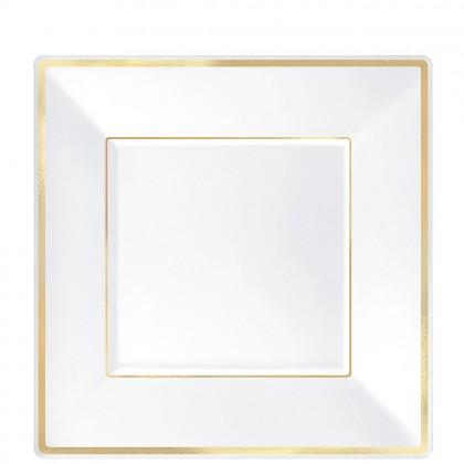 7 1/4 in Square Plates White w Gold Trim