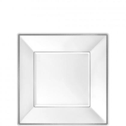 7 1/4 in Square Plates Plastic White w Silver Trim