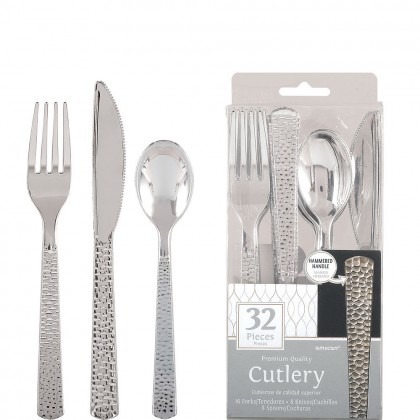 Hammered Cutlery Asst Plastic Silver