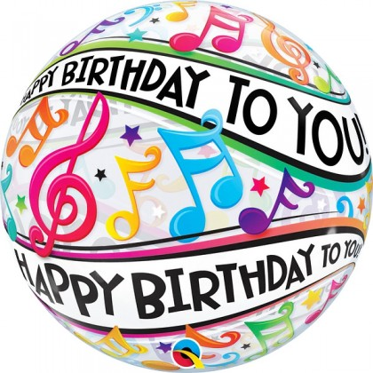 """Q 22"""" Happy Birthday To You Music Notes Bubble Balloon"""