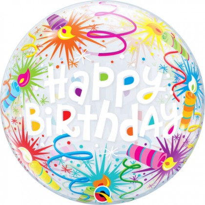 """Q 22"""" Happy Birthday Swirls And Candles Bubble Balloon"""