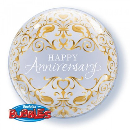 "Q 22"" Happy Anniversary Damask Bubble Balloon"