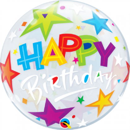 "Q 22"" Happy Birthday With Stars Bubble Balloon"