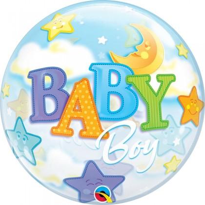 "Q 22"" Baby Boy Moon Bubble Balloon"
